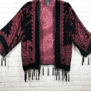 MSK burgundy beaded fringe kimono style top size L